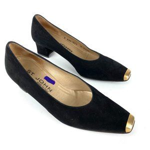 St. John Square Toe Black Suede and Gold Heels